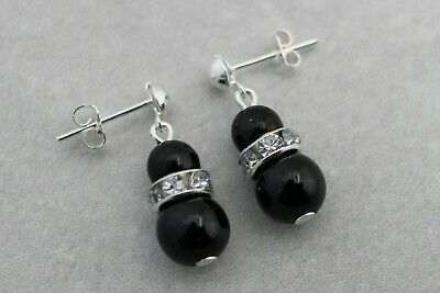 e1 Pearl & Diamante Stud Dangle Drop Earrings for women girls bridesmaids gift