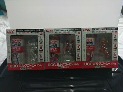 Neon Genesis Evangelion Rei, Asuka and Mari RARE UCC Coffee cans and figures