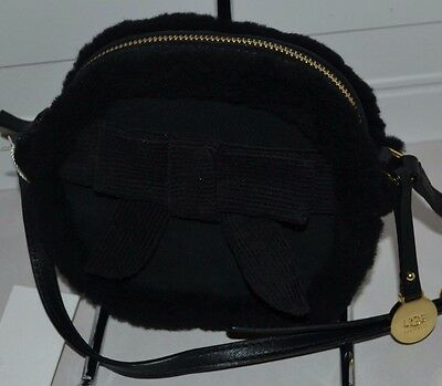 Ugg Bailey Bow Box Zip Small Leather Crossbody Bag Black New