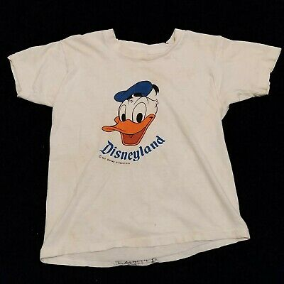 Disneyland Donald Duck TSHIRT Vintage USA Made 1960s 70s Kids Youth Child