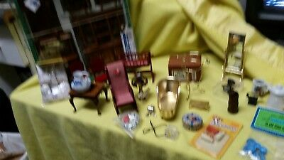 Lot Of Vintage Miniature Doll House Furniture Chairs Lamp Dining Room Set & MORE