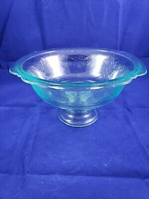 Depression Glass Blue Green Compote Pedestal Bowl Pretty Etched & Raised Pattern