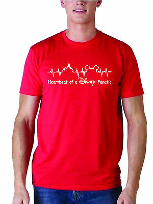 """Heartbeat of a Disney Fanatic"" T-shirt Choose From Red,Black,Blue,White or Ash"
