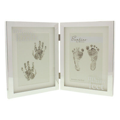 Bambino Silver-plated Hands & Feet Double Photo Frame with Ink Pad (CG1089)