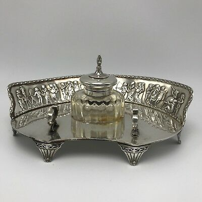 Antique WILLIAM COMYNS 1904 Repousse Scholar Sterling Silver Ink Pen Stand