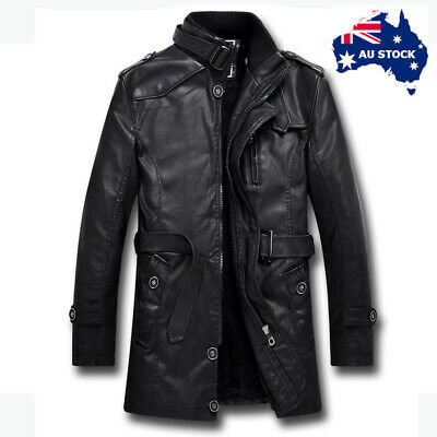Mens New PU Leather Trench Coat Fleece Lined Long Jacket Warm Winter Outer Wear