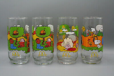 da51b91952 Vintage Lot of 4 McDonalds Camp Snoopy Collection Glasses Peanuts Charlie  Brown