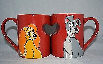 Disney Parks LADY & The TRAMP ♡ Heart ♡ Ceramic Coffee 2 Mug Cup Set New