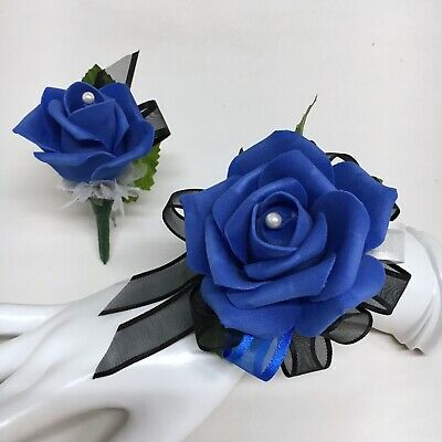 Royal Blue Rose on Black with Silver Trim Wrist Corsage & Boutonniere Combo