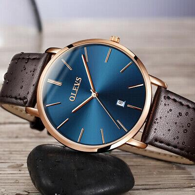 OLEVS Ultra-thin Women Mens Couple Stylish Leather Watch Student Wristwatches