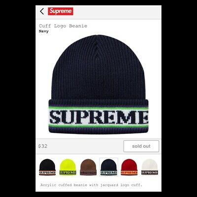 fa0386568cf Supreme Cuff Logo Beanie Navy FW18 NEW   100% Authentic S LOGO New York SS19