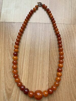Old Chinese Carved Round Baltic Antique Grade Amber Beads Necklace
