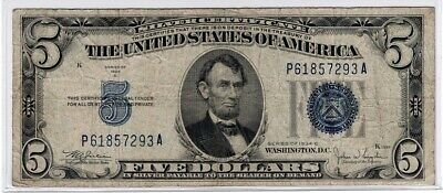 1934 SERIES $5 Silver Certificate,Large Blue Seal,  F - XF  old money LOT SALE