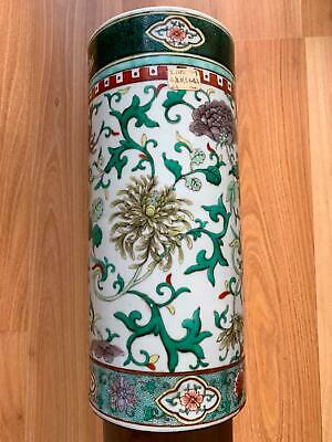 Large Chinese Qing Period Famille Verte Antique Porcelain Hat Stand