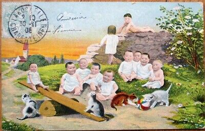 Multiple Baby 1908 Postcard: Babies Playing w/Cats & Seesaw - French Fantasy