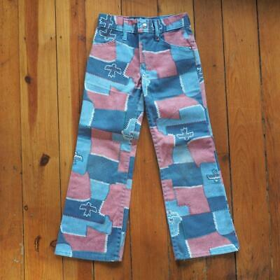 Vintage Sears Girls Patchwork Totem Hippie Bohemian Jeans Size 7