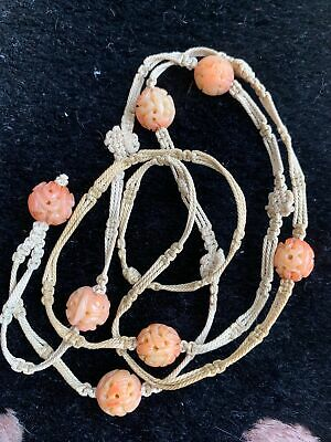 Old Chinese Qing Period Carved Pierced Horn-B Antique Beads Necklace
