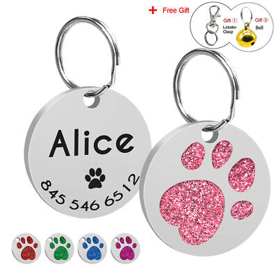 Glitter Paw Print Dog Tag Personalized Engraved Cute Cat Pet ID Name Tag 5 Color