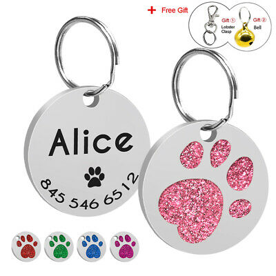 Personalized Engraved Glitter Paw Print Dog Tag Cute Cat Pet ID Name Tag 5 Color