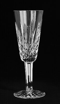 """SIGNED Waterford Crystal 7 1/4"""" Fluted Champagne Glass Lismore Pattern Stemware"""