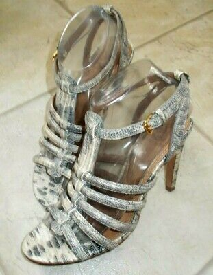 8bc75b29a TORY BURCH Size 8 Snake Reptile Print Charlene Gladiator Caged Sandals Heels