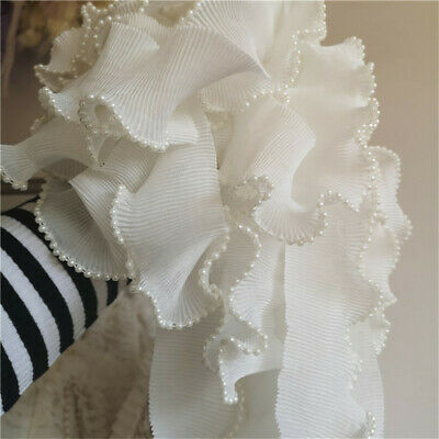 """Vintage Beaded White Chiffon Pleated Elastic Lace Trims Dress 2.36"""" Width"""