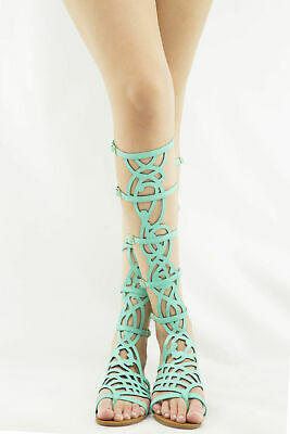 60d3f7abb4d96 Breckelle s SOLO-16 Strappy Knee High Gladiator Flat Sandal • Seafoam Green  7.5M