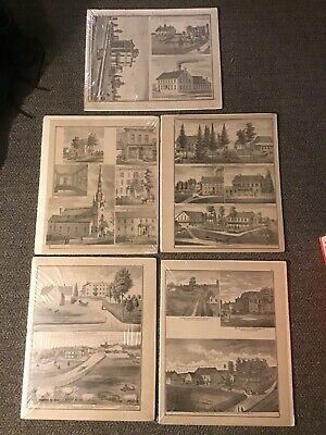 1875 Illustration Pages From Atlas Of Lancaster County PA Mannheim Business Home