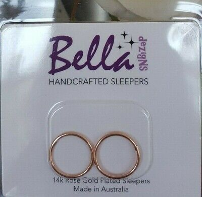 *SPECIAL* 14mm MED 14K Rose Gold Plated Sterling Silver Sleepers