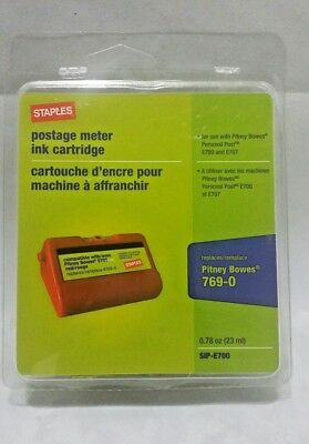 Staples SIP-E700 Red Postage Meter Ink Cartridge Replaces Pitney Bowes 769-0