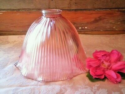 Vintage Light Shade Pink Glass Ribbed Heavy 22.5Cm Lamp Shade Frilled -2 Avail