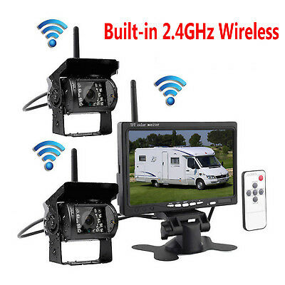 """For RV Truck Bus Van 2 Wireless Rear View Camera Night Vision System+7"""" Monitor"""