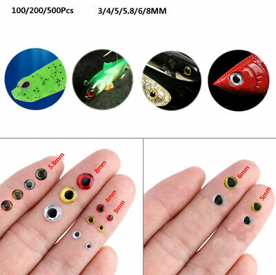 500pcs 3D Holographic Fishing Lure Eyes Stickers for Fly Tying Craft 3/4/5mm DD