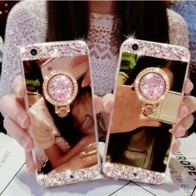 Bling Crystal Glitter Diamond Mirror Back Case Protective Covers Skin For iPhone
