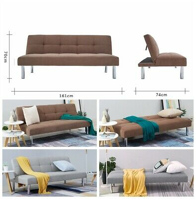 Faux Suede or Linen Fabric 3 Seater Sofa Bed Brown/Grey Living Room Furniture UK