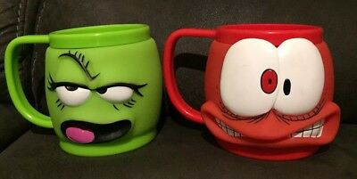 Face Off Hungry Jacks Promo Mug Kids Toy Collectable Rare 90s kids Green & Red