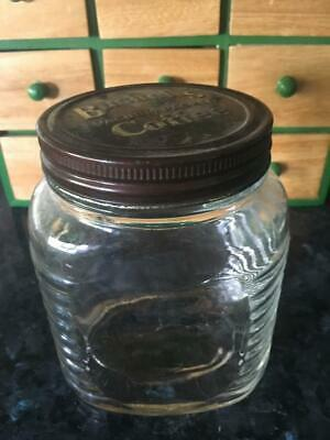 Vintage Bushells Coffee  Glass Jar/canister /tin Lid  (1) Collectable - Rare