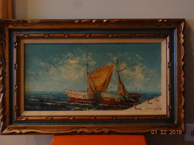 Vintage Nautical oil painting on canvas , signed