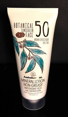 Australian Gold SPF50 Botanical Sunscreen Tinted Face Mineral Lotion EXP 03/21