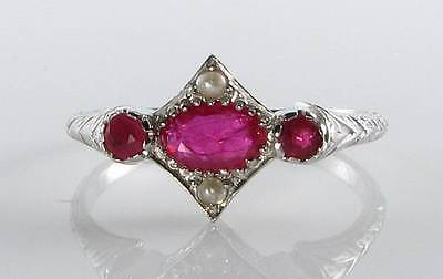 Dainty 9K White Gold English Art Deco Ins  Ruby & Seed Pearl Ring  Free Resize