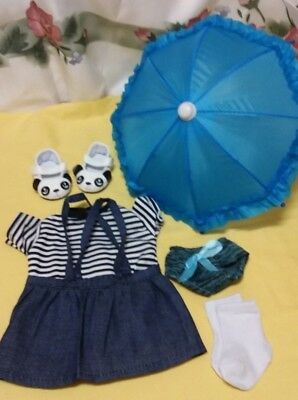 """Outfit for 18"""" Our Generation Doll - Denim Pinafore & Striped Top w/ acc."""