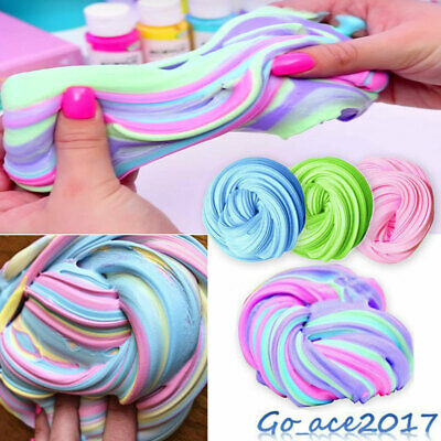 2.5oz Fluffy Slime Rainbow Unicorn Non-Toxic Stress Reliever Free Scented Toy