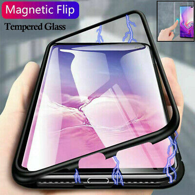 Magnetic Adsorption Metal Tempered Glass Case Cover For Samsung Galaxy S10+ S10e