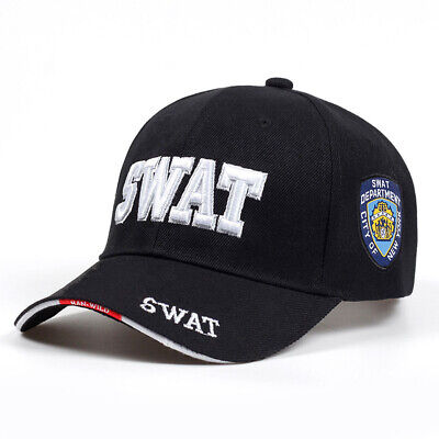 Mens Tactical Baseball Cap SWAT Embroidery Snapback Trucker Hat Outdoor Sports