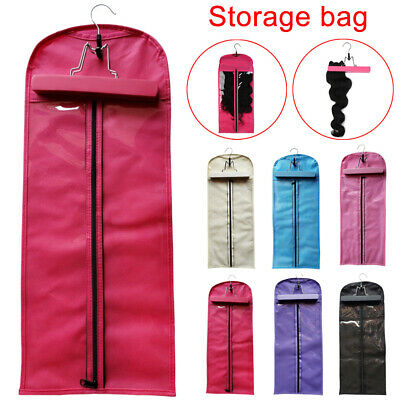 Hair Wig Extension Storage Bag Dust-proof Wig Protector Bag with Hanger Clip