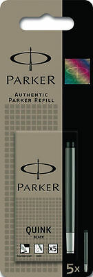 Geniune Parker Quink Ink Fountain Pen Cartridges Black PACK OF 5   FREE DELIVERY
