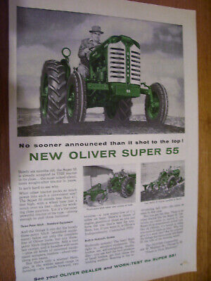 Vintage Oliver Corp Advertising  -Super 55  Tractor  - 1955