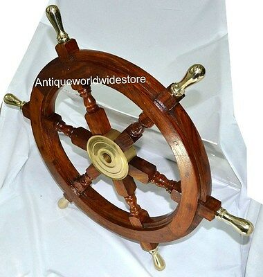 """Boat Ship Large Wooden Steering Wheel 24"""" Nautical Wall Decor New"""