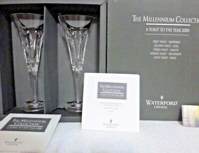 Pair Waterford Crystal Millennium Series LOVE TOASTING Fluted Champagne in Box