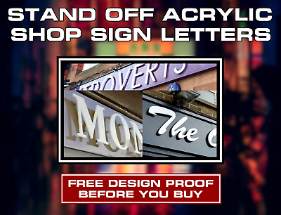 3mm Stand Off Acrylic Lettering - Custom Shop Front Fascia Sign - Business Signs